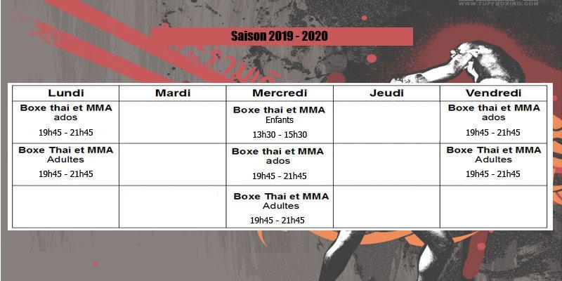 Planning Boxe Thai MMA